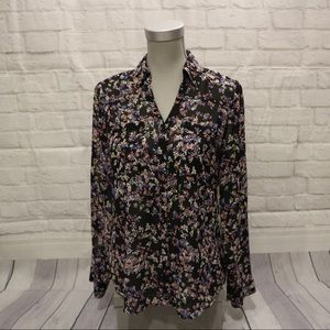 4/$30 🌷 Colourful Floral Black Sheer Blouse